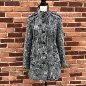 Guess frayed tweed coat, black buttons, large